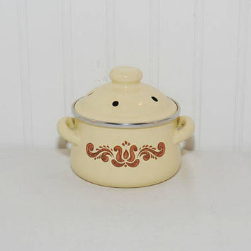 Vintage Pfaltzgraff Village Potpourri Metal Pot With Lid (c. 1976-1980's) New Vintage Pfaltzgraff, Kitchen Decor, Collectible, Wedding Gift