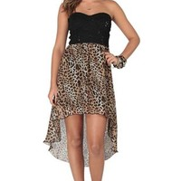 Strapless High Low Dress with Sequin Lace Bodice and Cheetah Skirt