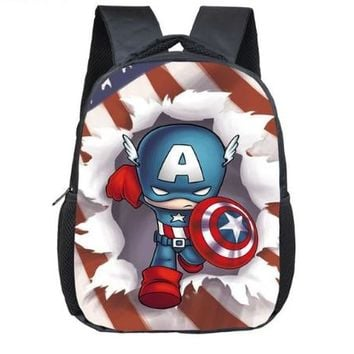 12 Inch The Avengers Captain America Backpack Schoolbags Girls Boys Iron man Children School Bags Kindergarten Toddler Backpack