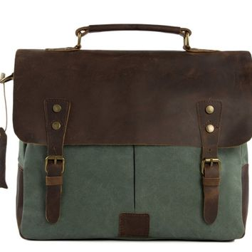 BLUESEBE HANDMADE CANVAS WITH LEATHER MESSENGER BAG - OLIVE GREEN