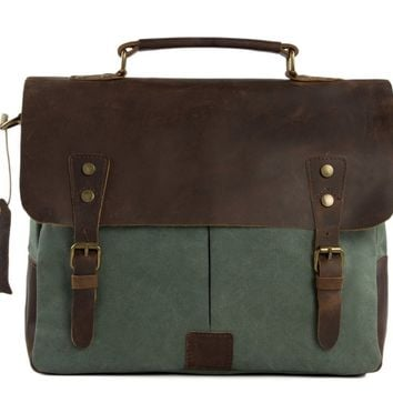Handmade Waxed Canvas & Leather Satchel Messenger Bag - Olive Green/Coffee