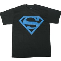 Superman Neon Blue Logo Black T-shirt Tee