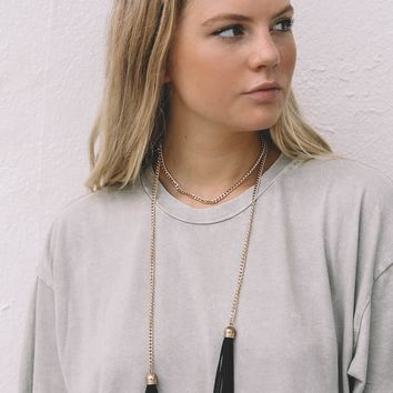 Gold Wrap Necklace with  Black Tassels
