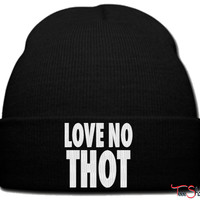 love no thot_ beanie knit hat