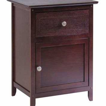 Classy Night Stand/ Accent Table with Drawer and Cabinet by Winsome Woods