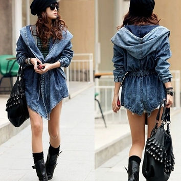 Trendy Casual Women Lady Jean Denim Trench Coat Big Hoodie Hooded Outerwear = 5708508609