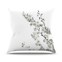 "Monika Strigel ""Cherry Sakura White"" Floral Nature Outdoor Throw Pillow"