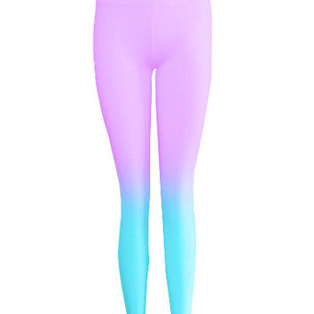 Purple & Blue Ombre Dyed Leggings
