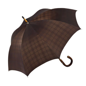 Ombrelli Handcrafted Umbrella with Wood Handle - Chocolate Plaid