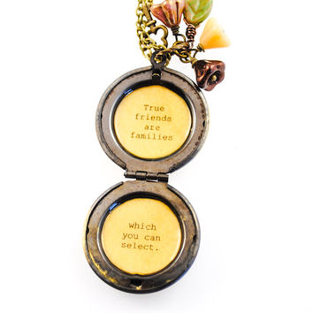 Audrey Hepburn Quote Locket - Women's Locket - True Friends are Families Which You Can Select, Friendship Necklace