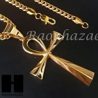 316L Stainless steel Gold Egyptian Ankh Cross Pendant Miami Cuban SS032