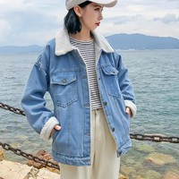 Autumn Winter Female Fashion Casual Wild Thick Lambs Wool Denim Coat Jacket Women Denim Jacket Warm Wool Linne Outwear Coats