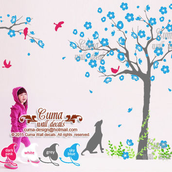 Flower tree and cat dog wall decals Animal wall mural Flower tree wall sticker for children kids Nursery - tree birds cat Z229 cuma