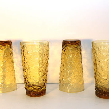 Set of four Vintage Amber Lido Anchor Hocking Tall Tumblers