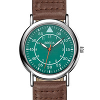 Breda Men's Military-Inspired Brown Leather Watch, 38mm - Brown