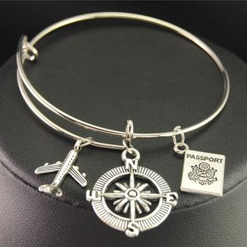 Wanderlust Traveler's Charm Bangle Bracelet