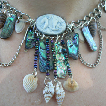 abalone mermaid choker necklace cameo abalone seashells resort wear  cruise wear beach wear high fashion gypsy boho
