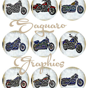 Variety of Harley Motorcycles Galatic Graphic Altered Art - Digital Collage Sheets - 2.25 inch Circles for Mirrors, Wedding Projects, Crafts