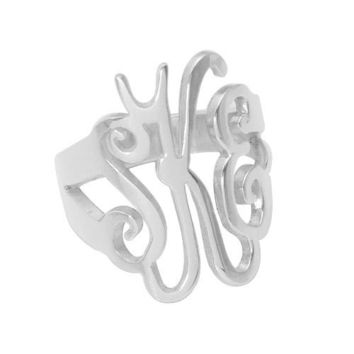 Initial monogram ring--Name ring--Sterling silver monogram ring