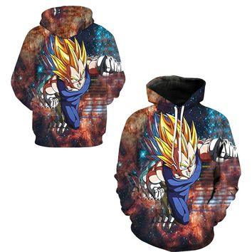 Vegeta Super Saiyan 2 Hooded Hoodies Cosplay Sweatshirts Tops Men Streetwear Dragon Ball Z Skateboarding Hoodies Pullovers Hoody