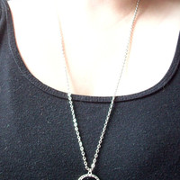 Long Green Marble Tear Drop Stone Necklace with a Tibetan Silver Ring