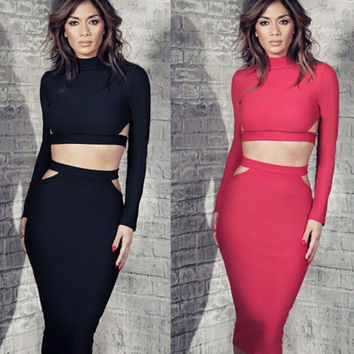 Long Sleeve Cutout Bodycon Cropped Top Midi Skirt Set