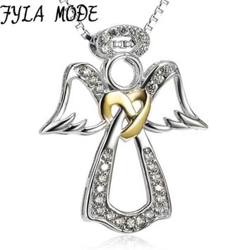 Love Angle Wings Neckalce Natural Pendant Pure 925 Solid Silver Necklace Gold Color Heart Women Gift Jewelry mujer SUMMER GIFT