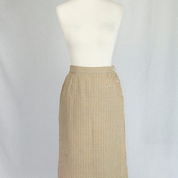Vintage 1960's Pin-up Pencil Skirt Seersucker Checks