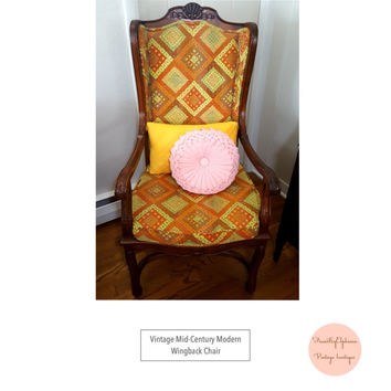 Vintage Mid Century Modern Hollywood Regency Wingback Cane Yellow and Orange Geometic Mod Arm Chair