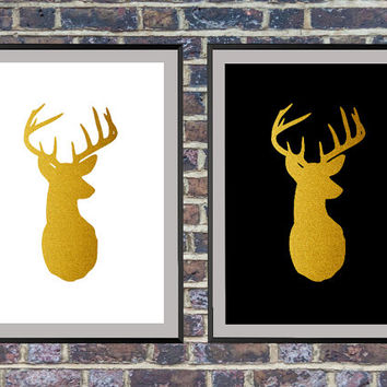 2 for the price of 1 Stag Head Print, Deer Wall Art, Deer head, Printable Wall Art, Deer Antlers, Gold Deer Print, Wall Decor *7*