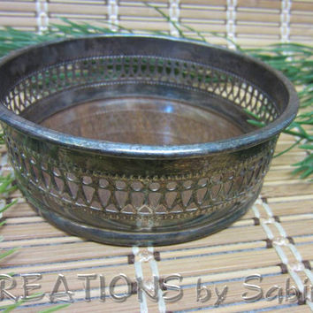 Silver Rim Bottle Coaster, Small Tray, Brown, Silver Plate, Plated, Round, Bar Accessories, Vintage FREE SHIPPING (133)