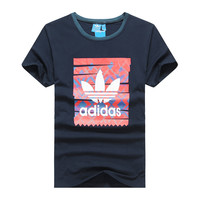 """Adidas"" Fashion Casual Clover Letter Pattern Print Short Sleeve T-shirt Men Shirt Top Tee"