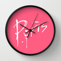 Pink Paris Love Wall Clock. Wall Decor. Wall Art. Hot Pink Wall Clock. Eiffel Tower Pattern. Gift for Her. Unique Gift