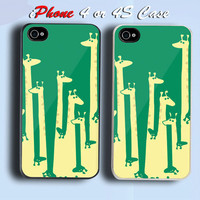 Giraffe Family Custom iPhone 4 or 4S Case Cover
