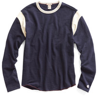 Long Sleeve Shoulder Stripe T-Shirt in Navy