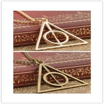 CREYUG3 Film Movie Harry potter deathly hallows metal Gold necklace pendant as Gifts HOT = 1946876292