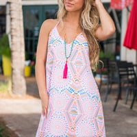Psychedelic Tricks Dress, Neon Coral
