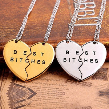 Elegant 2 Parts Best Bitches Love Broken Heart Pendant Friend Friendship Charm Necklace = 1946446212