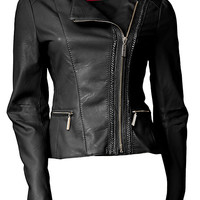 ASYMMETRIC ZIP FAUX LEATHER JACKET