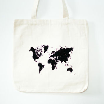 SALE screen printed canvas tote bag - world map