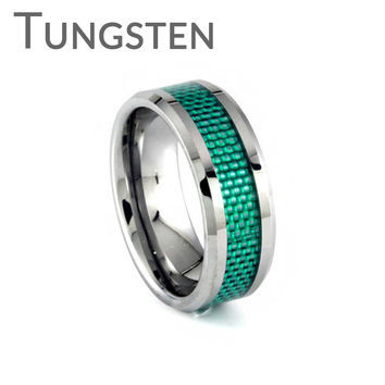 Lust for Life – FINAL SALE Woven green inlay bevelled edge tungsten men's ring