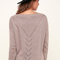 Pointelle Me More Light Brown Knit Sweater