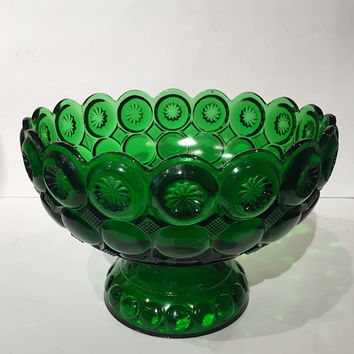 Emerald Green EAPG Moon and Star Compote | Kemple Glass Moon and Star Glass Compote Pedestal Bowl