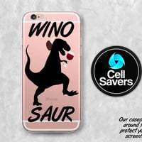 Wino Saur Clear iPhone 6s Case iPhone 6 Case iPhone 6 Plus iPhone 6s Plus iPhone 5c iPhone SE Clear Case Wino Saur Dinosaur Red Wine Tumblr