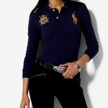 POLO:Ladies fashion sport long sleeve T-shirt