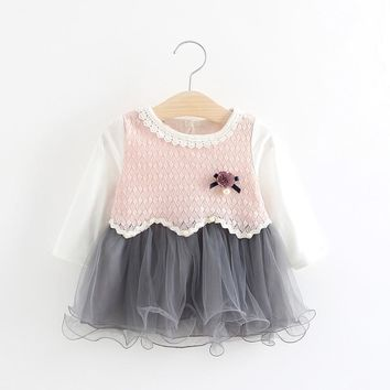 Autumn Long Sleeved Lace Mesh Patchwork Knitting Baby Flower Party Girls Kids Dresses Princess Infants Tutu Dress Vestido S5543