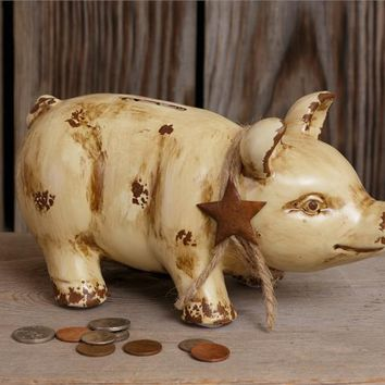 Rustic Piggy Bank with Star