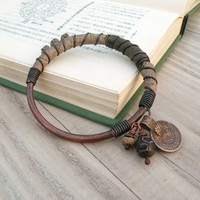 Silk Road Bangle - Silk Wrapped Bracelet, Handmade Copper Bangle, Gypsy Coin Charm