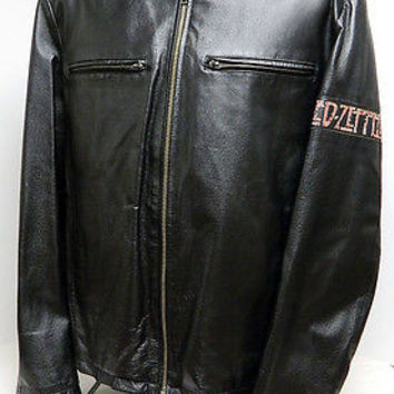 Mens Led Zepplin U.S.A. Tour 1977 Wilson Leather Jacket Heavy Rock Hard Rock XL