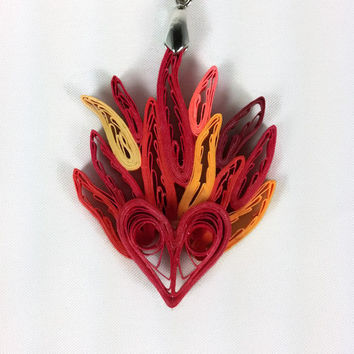 Quilling Hearts on Fire Pendant, sacred heart pendant, paper quilling heart necklace, paper anniversary gift, 1st anniversary, heart on fire